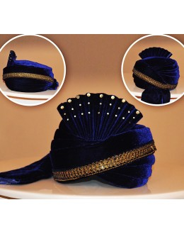 Traditional Navy Blue Velvet Turban Groom - 72516