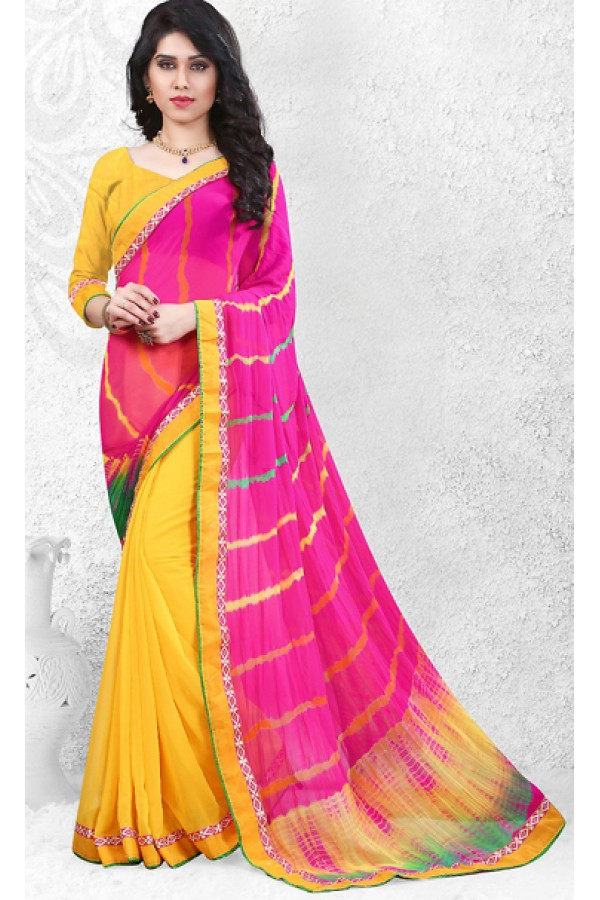Party Wear Pink & Yellow Georgette Saree  - 72522