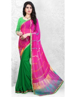 Casual Wear Pink & Green Georgette Saree  - 72525