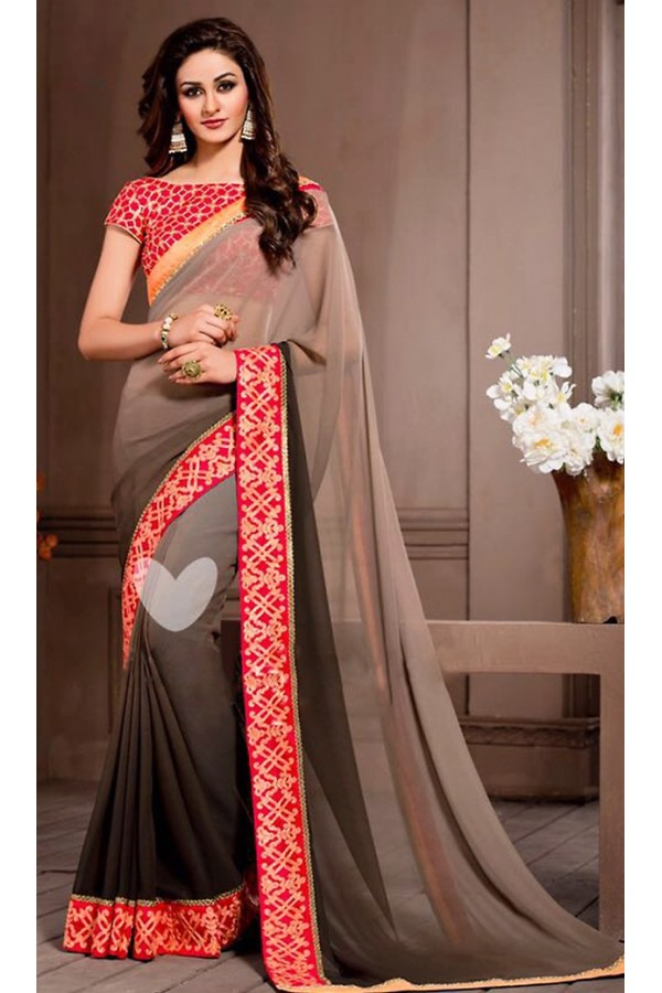 Party Wear Tan Brown Georgette Saree - 72527