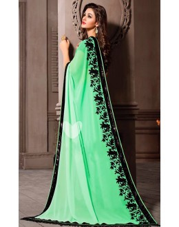 Party Wear Green Georgette Saree - 72528