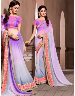 Casual Wear Lavendar Georgette Saree - 72530