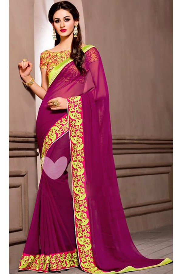 Casual Wear Violet Georgette Saree - 72531