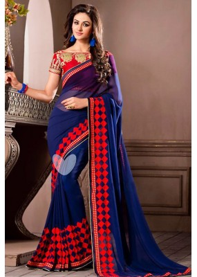 Traditional Navy Blue Georgette Saree - 72532