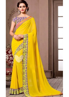 Traditional Yellow Georgette Saree - 72535