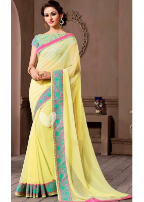 Designer Yellow Georgette Embroidered Saree - 72537