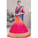 Traditional Pink & Blue Net Lehenga Choli - 72541