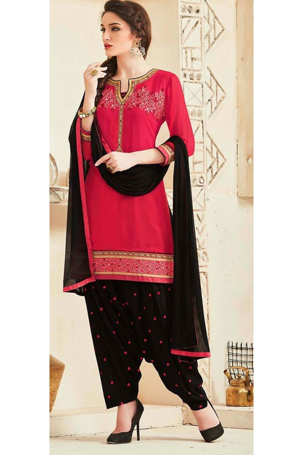 Party Wear Red & Black Georgette Patiala Suit - 72551