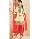 Designer Style Cream & Red Georgette Patiala Suit - 72552