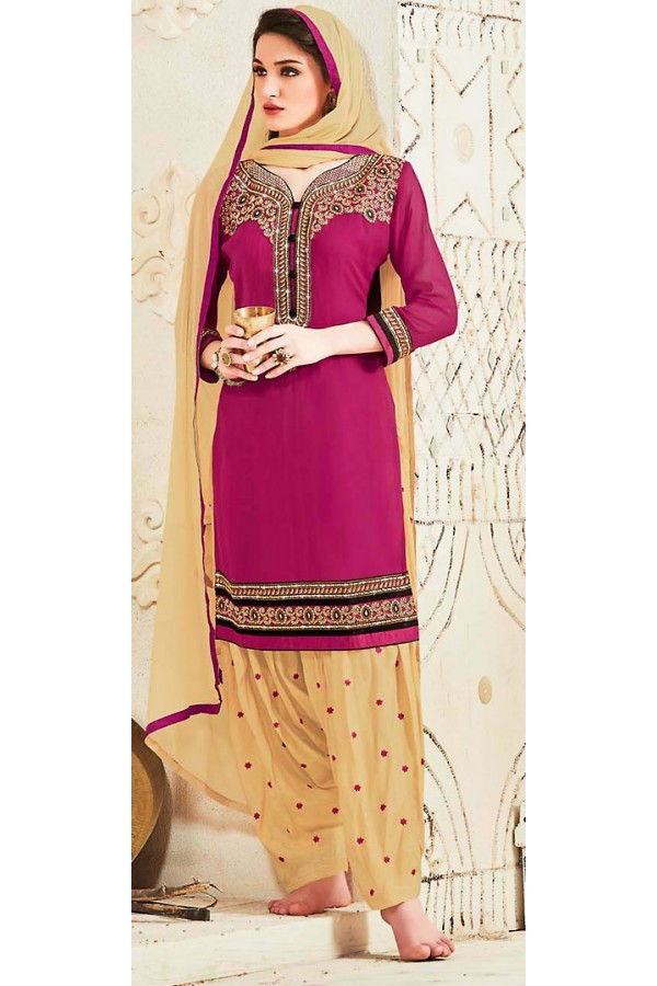 Party Wear Violet & Brown Georgette Patiala Suit - 72555