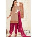 Party Wear Brown & Violet Georgette Patiala Suit - 72556