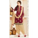 Party Wear Maroon & Beige Georgette Patiala Suit - 72558