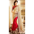 Ethnic Wear Beige & Red Lycra Saree - 72595