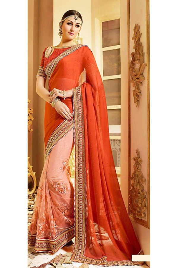 Designer Orange & Pink Chiffon Saree - 72596