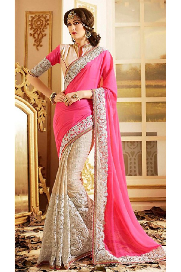 Traditional Pink & Beige Chiffon Saree - 72597