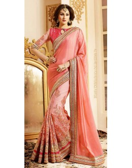 Party Wear Pink Net Embroidered Saree - 72598