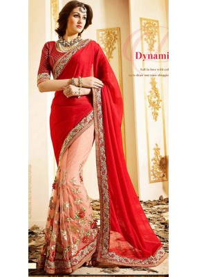 Traditional Red & Pink Net Embroidered Saree - 72599