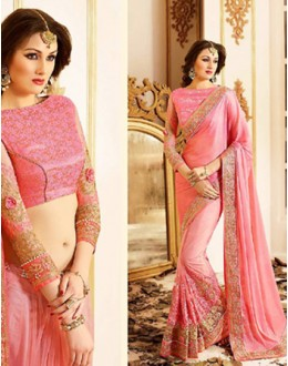 Ethnic Wear Pink Net Embroidered Saree - 72601
