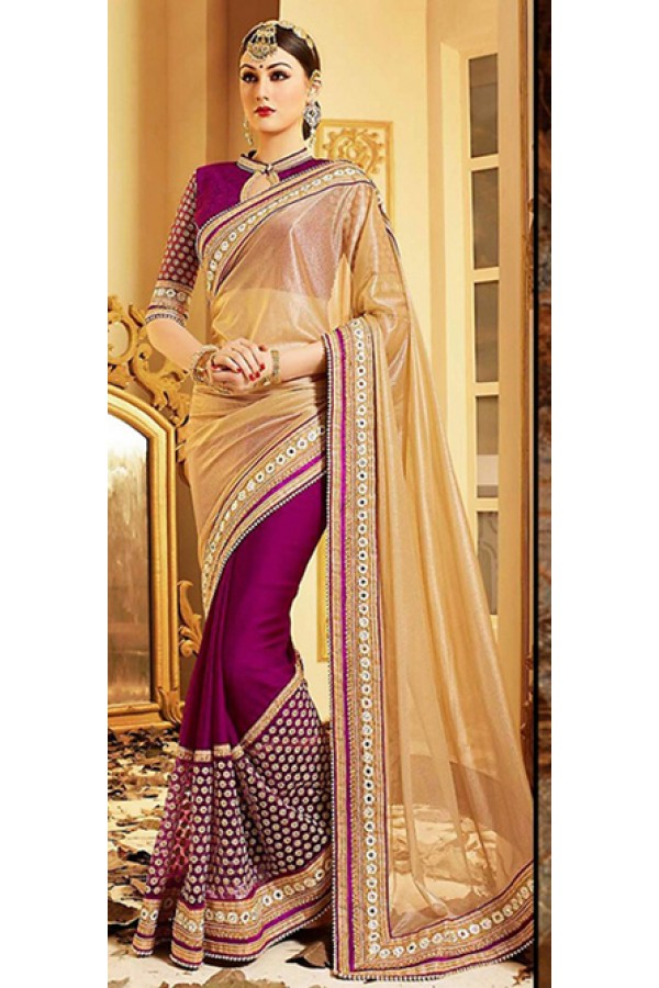 Traditional Tan Brown & Purple Lycra Saree - 72602