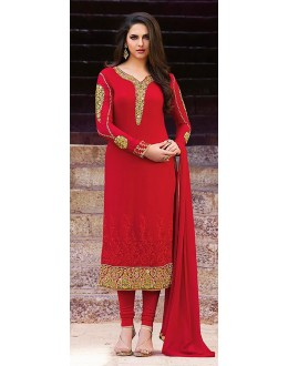 Traditional Red Georgette Salwar Suit - 72621