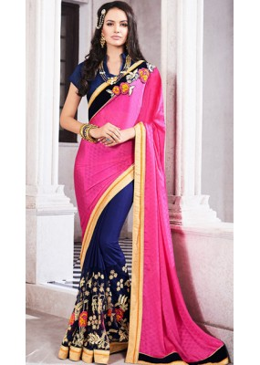Traditional Pink & Navy Blue Georgette Saree - 72682