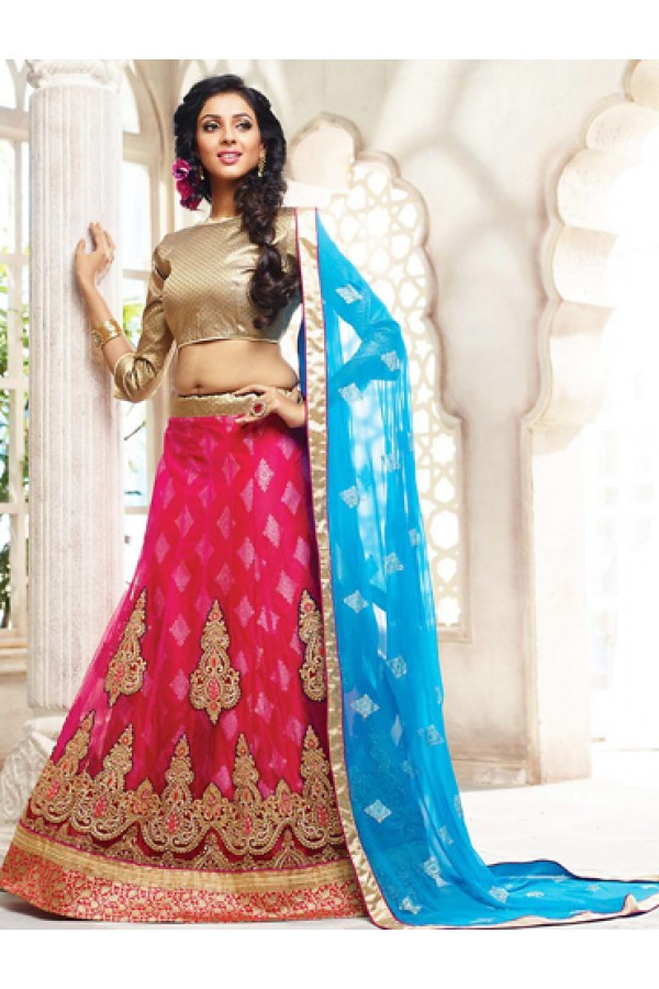 Wedding Wear Pink & Sky Blue Lehenga Choli - 72790