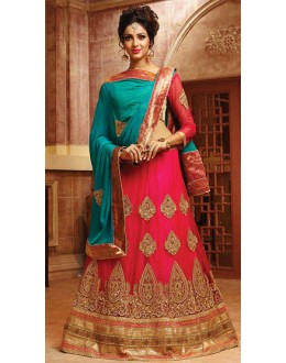 Wedding Wear Pink & Turquoise Lehnega Choli - 72792