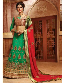 Traditional Green & Red Net Lehnega Choli - 72794