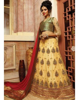 Traditional Beige & Red Net Lehnega Choli - 72797