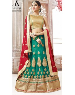 Wedding Wear Green & Red Net Lehnega Choli - 72815