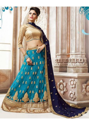 Traditional Aqua Blue & Gold Net Lehnega Choli - 72818
