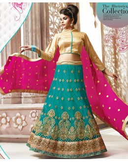 Ethnic Wear Teal Blue & Pink Net Lehnega Choli - 72820