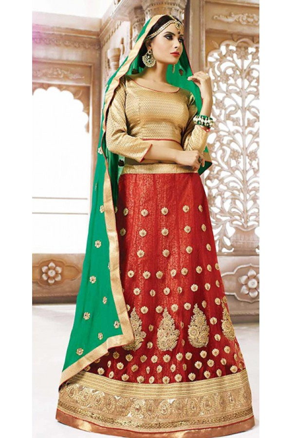 Traditioal Red & Green Net Lehnega Choli - 72822