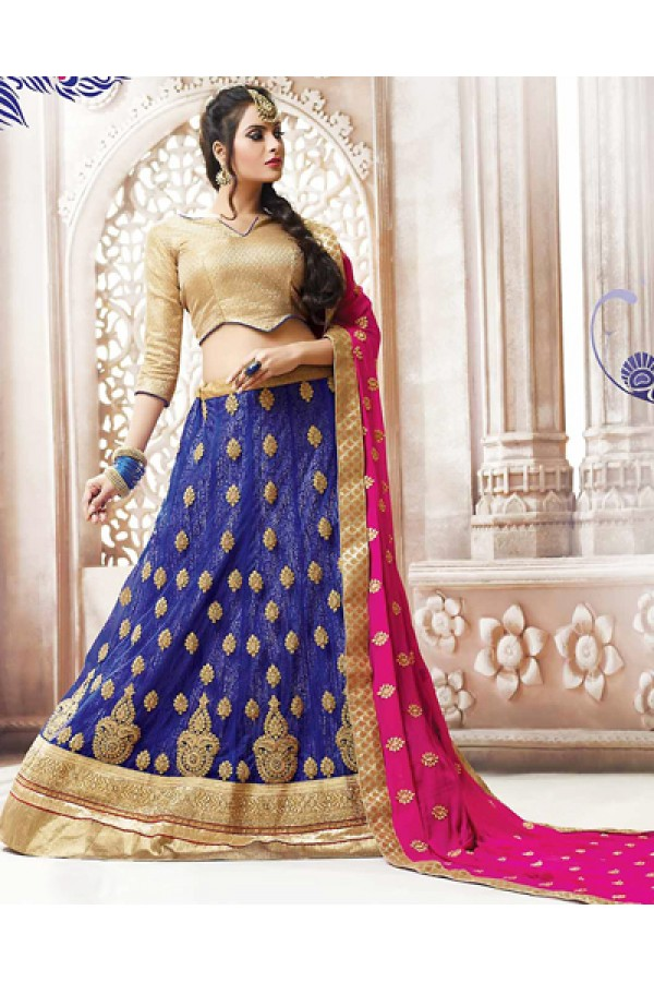 Traditional Navy Blue & Pink Net Lehnega Choli - 72824