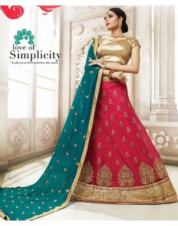 Traditional Red & Teal Blue Net Lehnega Choli - 72826