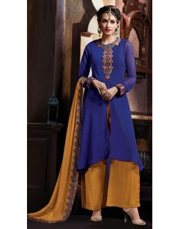 Casual Wear Blue & Yellow Georgette Salwar Kameez - 72855