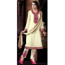 Party Wear Cream Georgette Salwar Suit - 72856