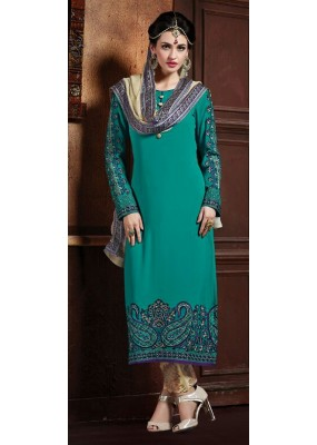 Office Wear Green & Brown Georgette Salwar Suit - 72857