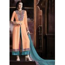 Party Wear Orange & Teal Blue Salwar Kameez - 72859