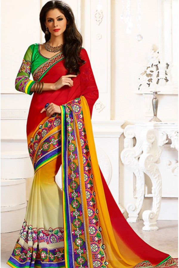 Designer Multicolour Georgette Saree  - 72886