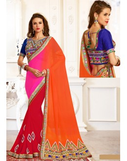Casual Wear Multicolour Georgette Saree  - 72887