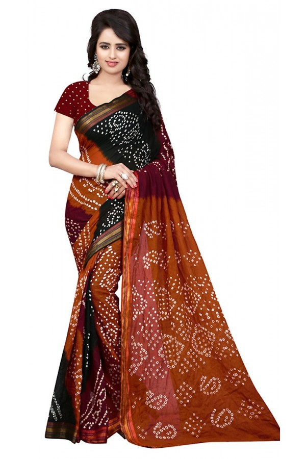 Party Wear Maroon & Multicolour Cotton Saree  - 72932