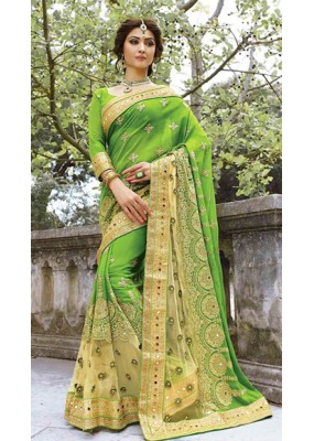 Ethnic Wear Green Georgette Embroidered Saree - 72945