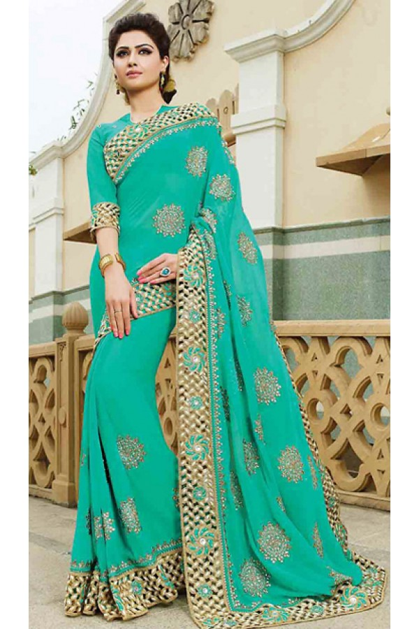 Designer Turquoise Georgette Embroidered Saree - 72947