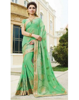 Traditional Green Georgette Embroidered Saree - 72949