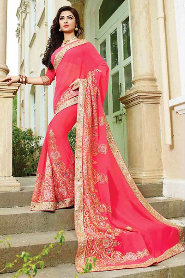 Designer Pink Georgette Embroidered Saree - 72950