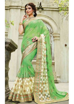 Ethnic Wear Green Georgette Embroidered Saree - 72951