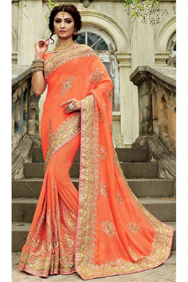 Traditional Orange Georgette Embroidered Saree - 72955