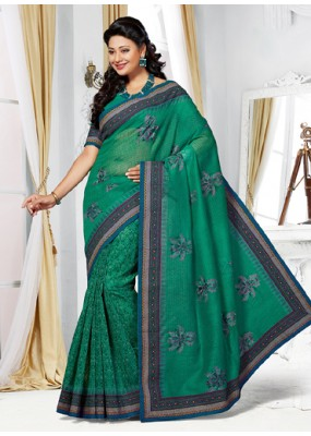 Party Wear Green Cotton Embroidered Saree  - 73385