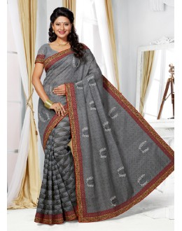 Ethnic Wear Grey Cotton Saree  - 73388